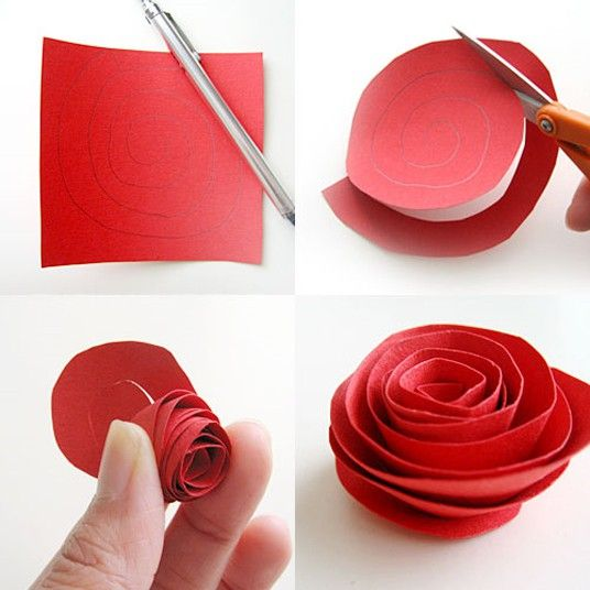 .: Crafts Ideas, Easy Paper Flowers, Rose Crafts, Homemade Flowers, Valentines Day, Red Rose, Paper Crafts, Paper Rosette, Flowers Tutorials