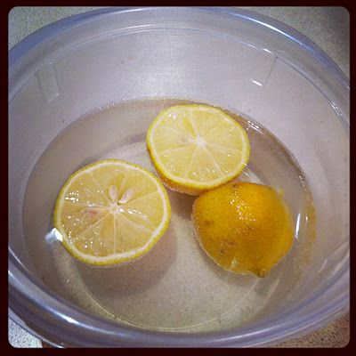 how to clean microwave with lemons and water: fill microwave-safe bowl with water and cut-up lemons (I squeeze lemon juice into the water) and microwave for 4-5 minutes on high. the steam should loosen up any gross stuff stuck on your microwave. to keep the cleaning process and lemon smells going, put the lemons in the disposal and grind them up!