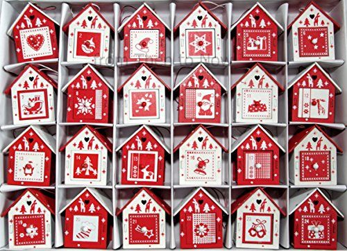red and white scandinavian | Details about NEW Red and White Scandinavian Wooden Birdhouse Advent ...