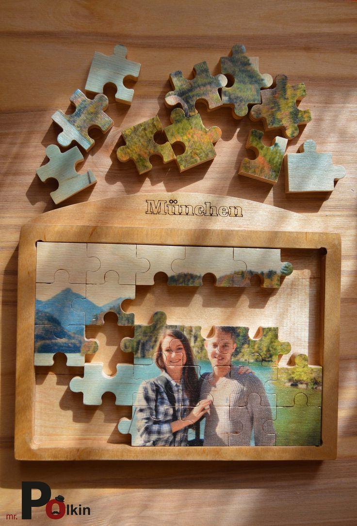 Деревянные рамка и пазл с гравировкой Размеры (длина - 20,5 см, высота - 18 см, глубина - 1,8 см) Материал (фанера ФК березовая, 1 сорт) + лак