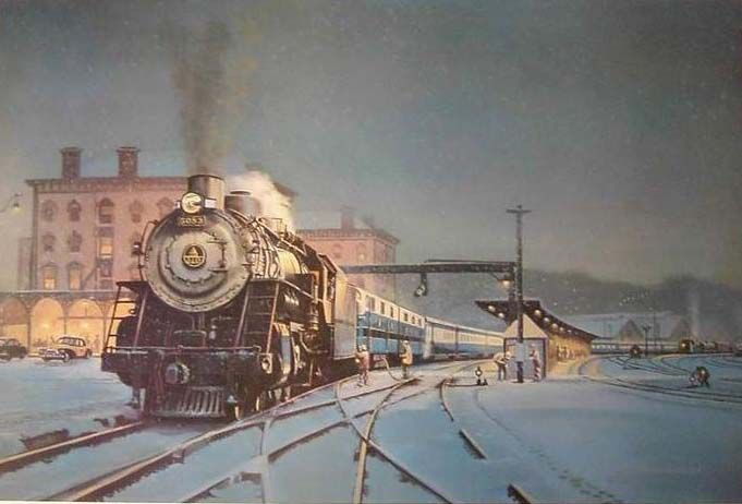 Charles Amos Painting BampO Railroad And Queen City Station