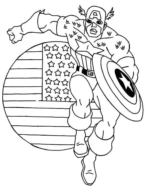 Hero Captain America Coloring Page