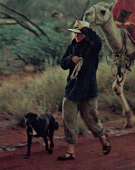Robyn Davidson who in the late '70s crossed the Australian Outback alone but for her dog, camels and an occasional companion out on walk-about. National Geographic May 1978