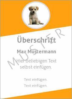 Muster Ehrenurkunde, Vereinsurkunde, Urkunde Tiere Hund, Welpe
