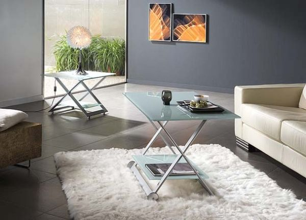 Mesa duo elevable 52 mesa de centro cristal patas tijera - Patas para mesa de centro ...