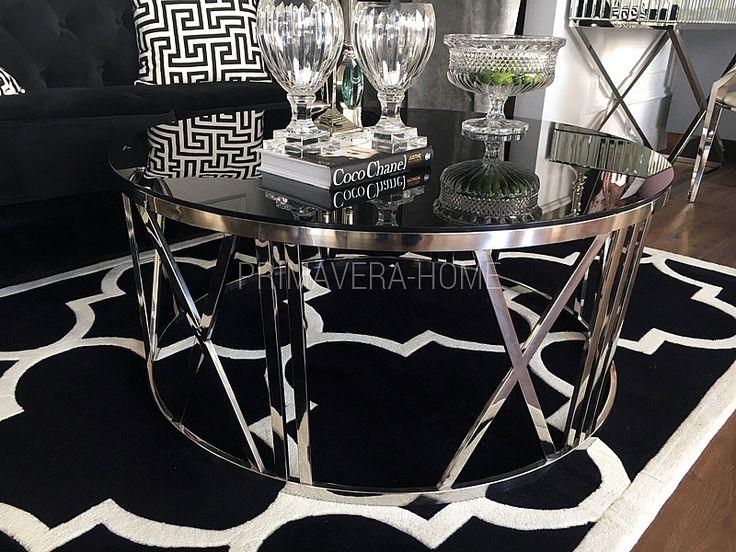 Stolik kawowy okrągły stal szklany nowoczesny czarny ROMEO