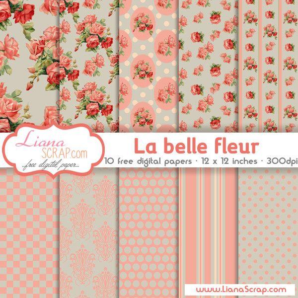 Shabby Chic free digital paper – La Belle Fleur