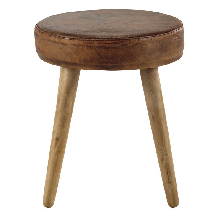 AARON wood and brown leather stool