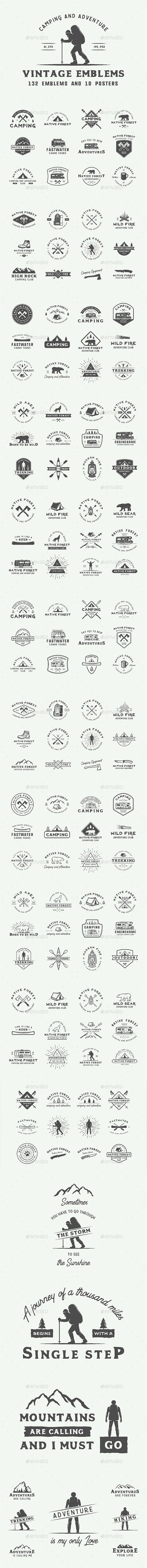 Camping and Adventure Emblems Templates PSD, Vector EPS, AI Illustrator