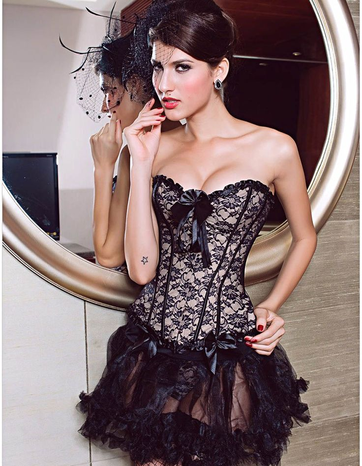 Sexy bow corset plus size court cinta modeladora de corpo lace Striped Gothic Punk Overbust body Corsetlet espartilho