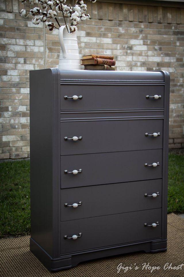 General Finishes Driftwood Milk Paint Waterfall Dresser | Gigi's Hope Chest ~ http://gigishopechest.com/