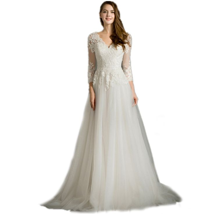 vestido de noiva 2017 New Arrival Long Sleeves Long Lace Maternity Wedding dresses for baby shower Pregnant woman Bridal Gowns