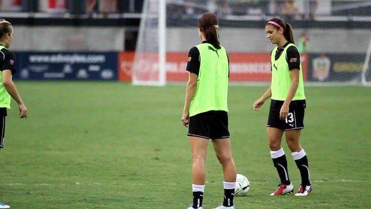 Alex Morgan- Soccer trick during warm-up