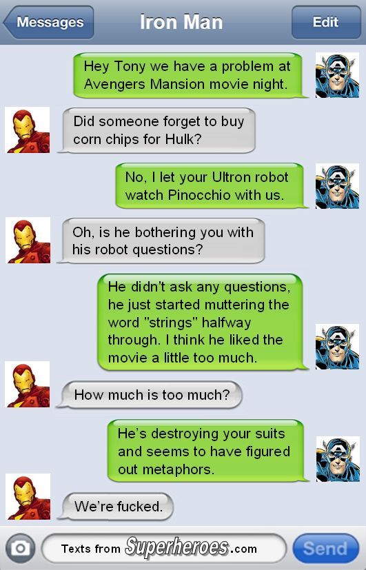 The Avengers are screwed. #TextsfromSuperheroes