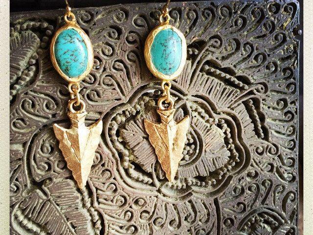 Turquoise Earrings,Turquoise Arrowhead Earrings,Gold Edged Turquoise,Gold Turquoise Earrings,Arrowhead Earrings,Turquoise Earrings,Roman by OneTribeJewelry on Etsy https://www.etsy.com/listing/215927897/turquoise-earringsturquoise-arrowhead