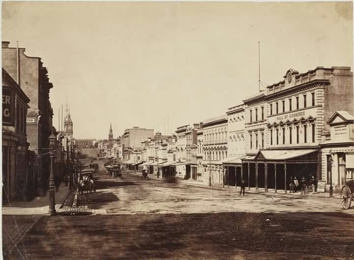 Collins St,Melbourne, looking east in 1870. State Library of New South Wales.