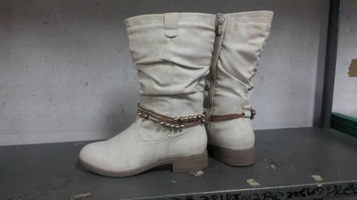 Ivory Half Boot with Ankle Bead Detail.