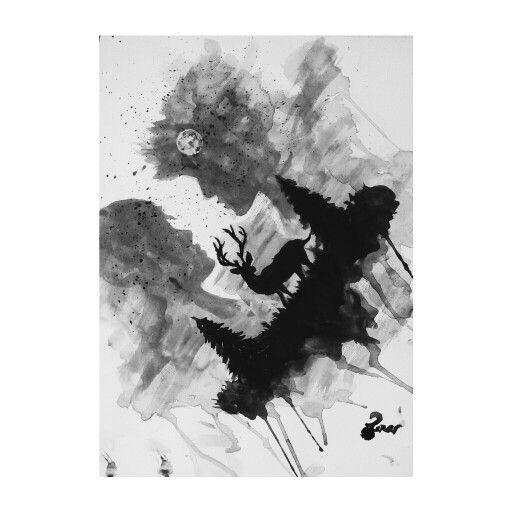 #watercolor #deer #lovers #silhouette