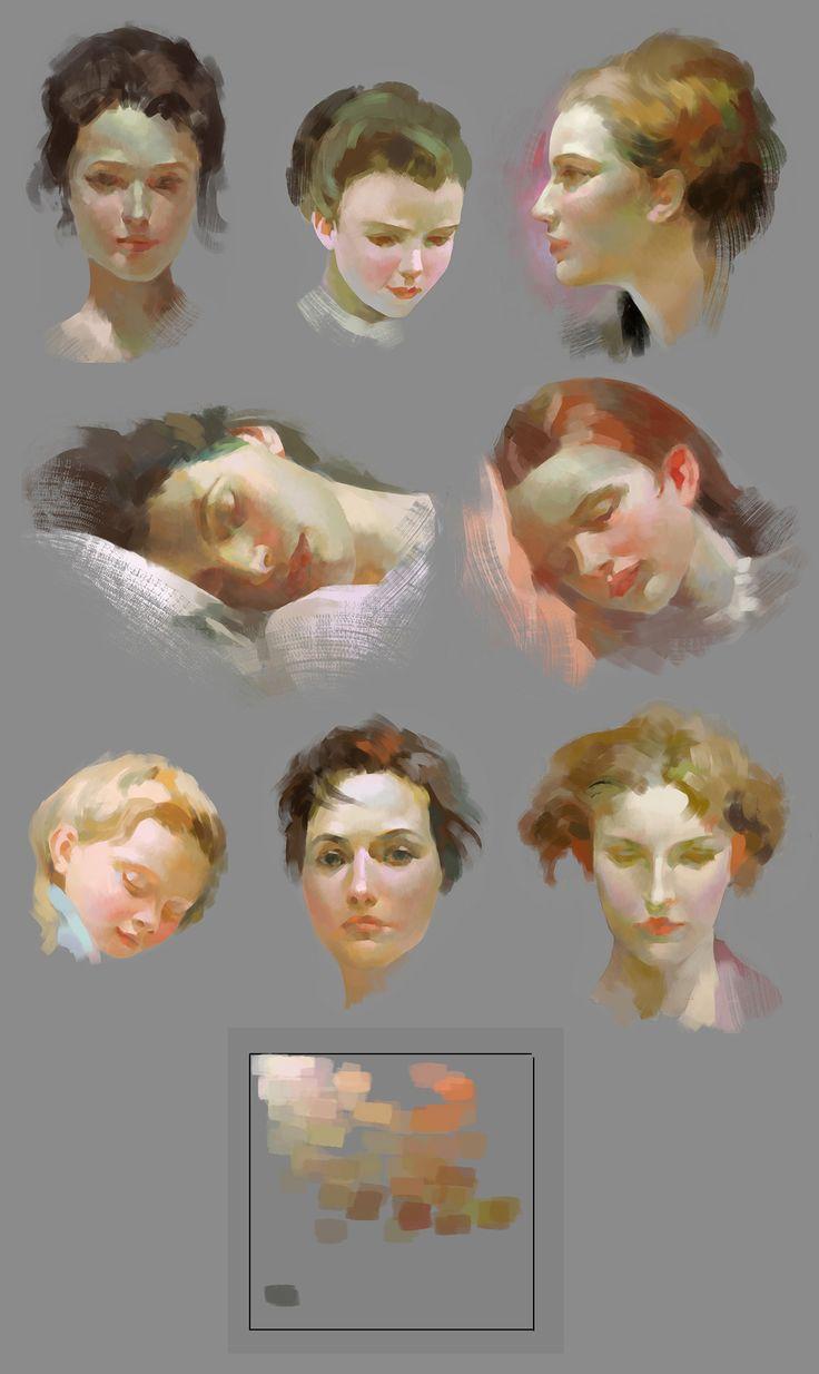 Un ejemplo seriado de tonalidades de piel y cabello.