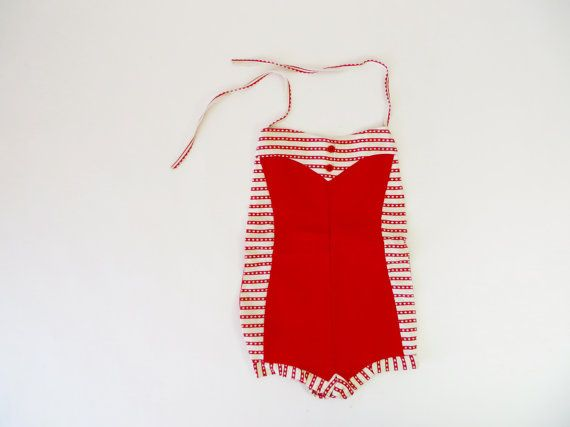 Vintage 1940s 1950s Swimsuit / Red & White  / New by 4birdsvintage
