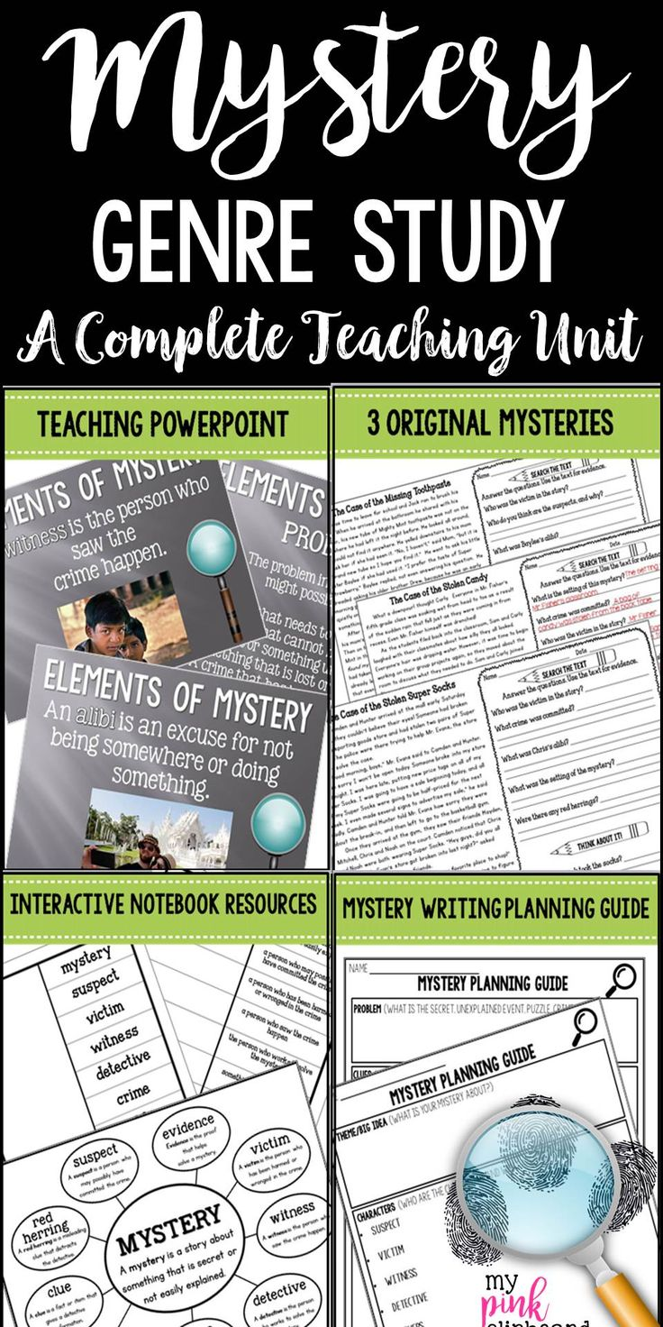 Everything you need to teach the Mystery genre: unit plan featuring detailed lesson plans, a teaching Powerpoint with essential vocabulary, interactive notebook resources, mystery writing graphic organizer, three original mysteries for close reading and analysis, and much more!