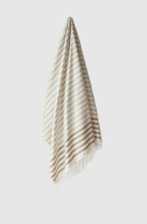 Sheker Candy Stripe Turkish Towel Sand - $49 AUD