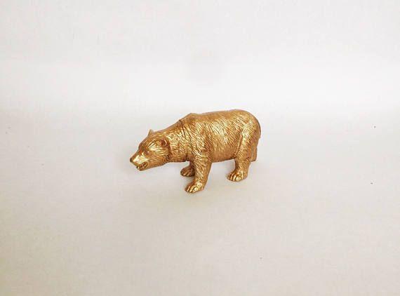 Gold Metallic Bear  Safari Chic  Birthday  Wedding  Shower Cake Topper Favor Party Decor Decorations Forest