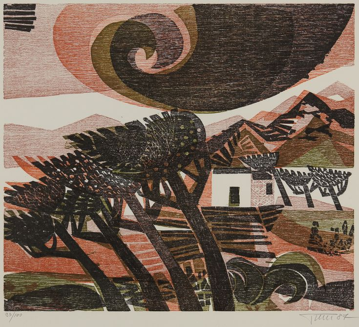 Alfred Pohl Landscape Wind Woodcut Color German Printmaking Art