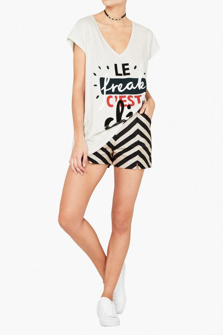 Sass and Bide - Sweet Talk Print Cotton Tee Grey Marle One Size Small Left