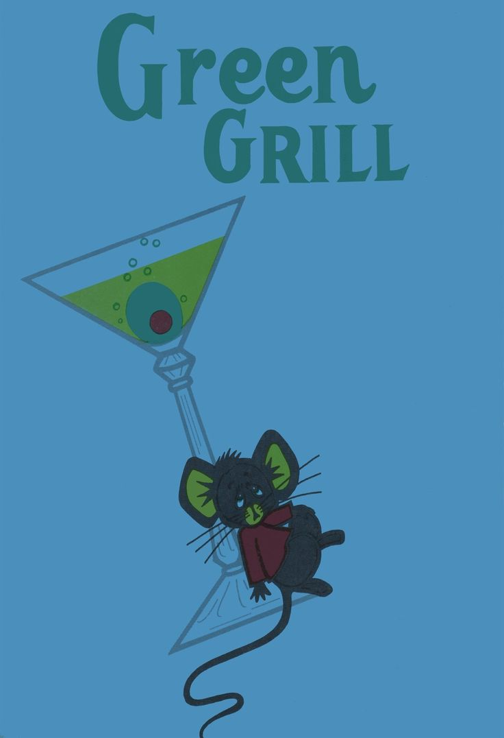 Green Grill, Centralia Illinois 1960s Menu Art
