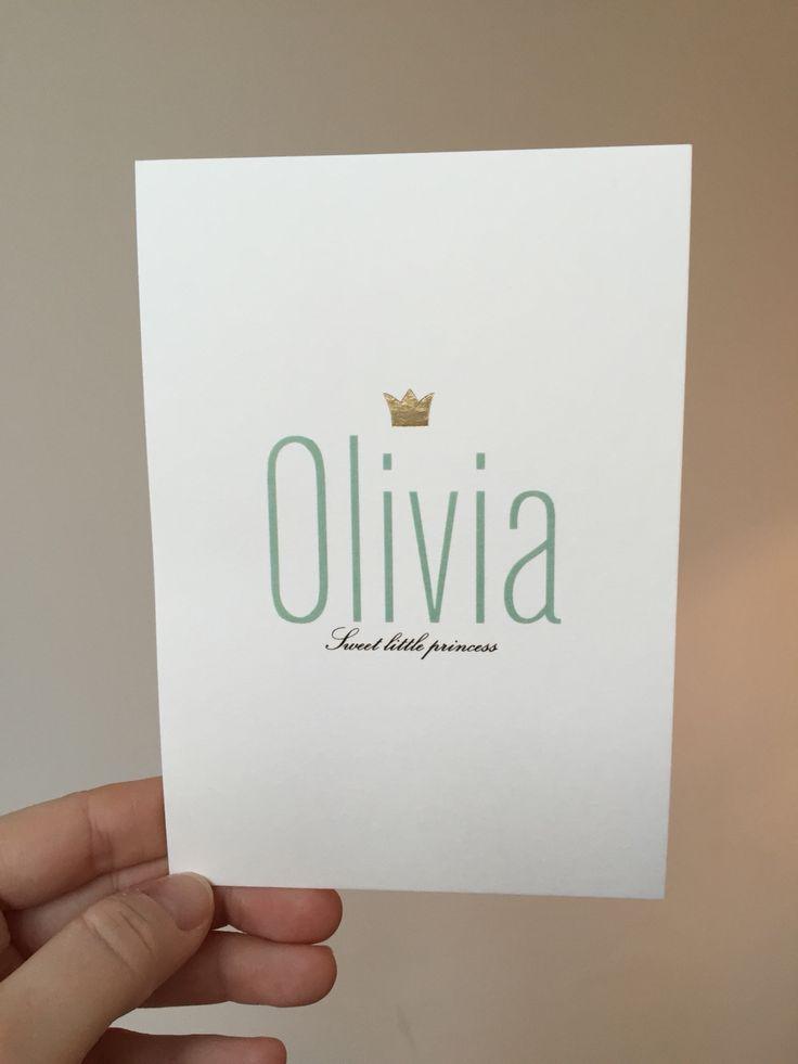 Geboortekaartje Olivia met gouden foliedruk