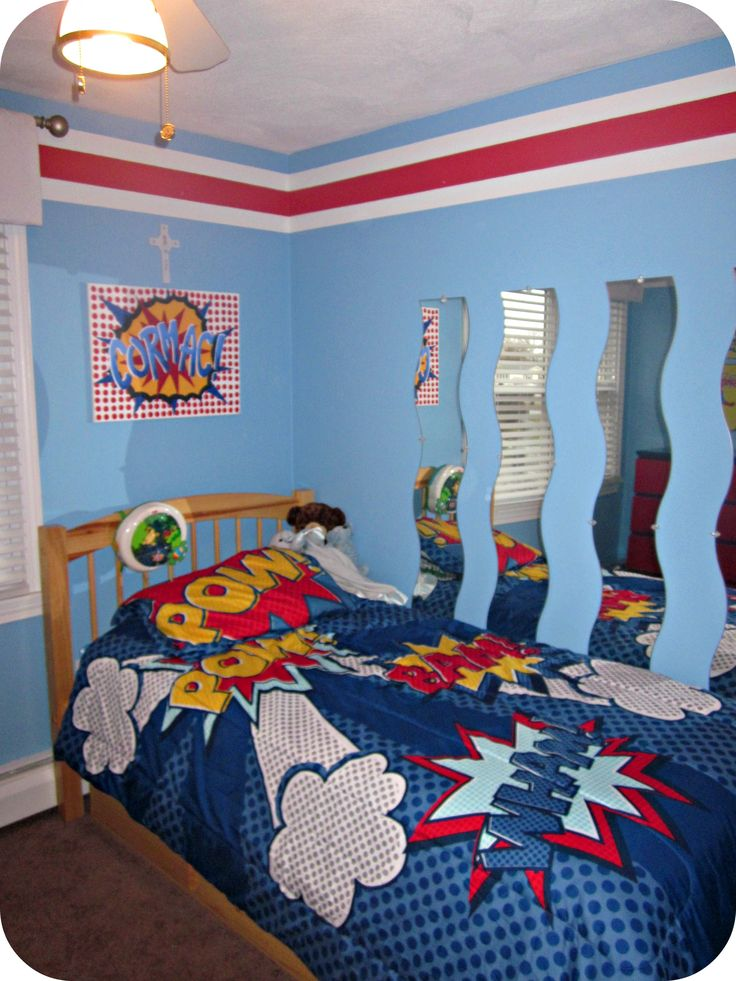 Bedroom, Mesmerizing Superhero Themes Boy Small Bedroom With Single Bed With Batman Theme Bedding And Unique Shape Mirror Attached On Aqua Blue Wall Painted Decoration Ideas ~ Energetic Boy Themed Rooms Using Minimalist Interior Design