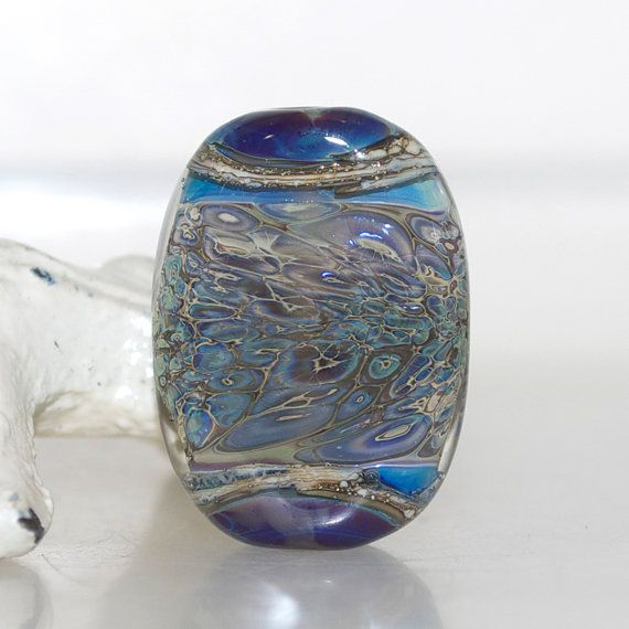Blue with Too Much Brown Organic Lampwork Glass by journeybeads