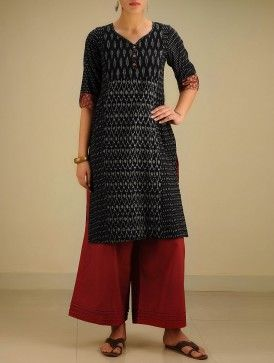 Black-Grey Hand woven Ikat & Block Printed Cotton Kurta