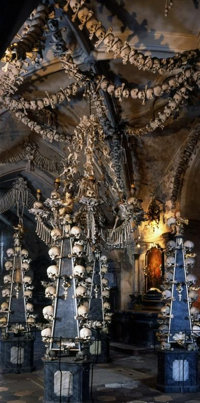 The bone church (the bones of up to 40000 people) in Kutna