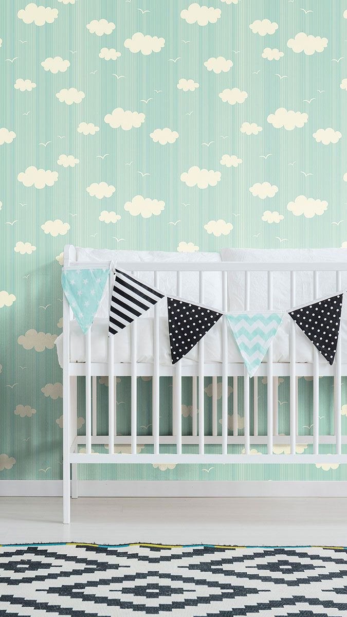 Blue And White Clouds Baby Peel And Stick Removable Wallpaper 8827 Removable Wallpaper Peel And Stick Wallpaper Nursery Wallpaper