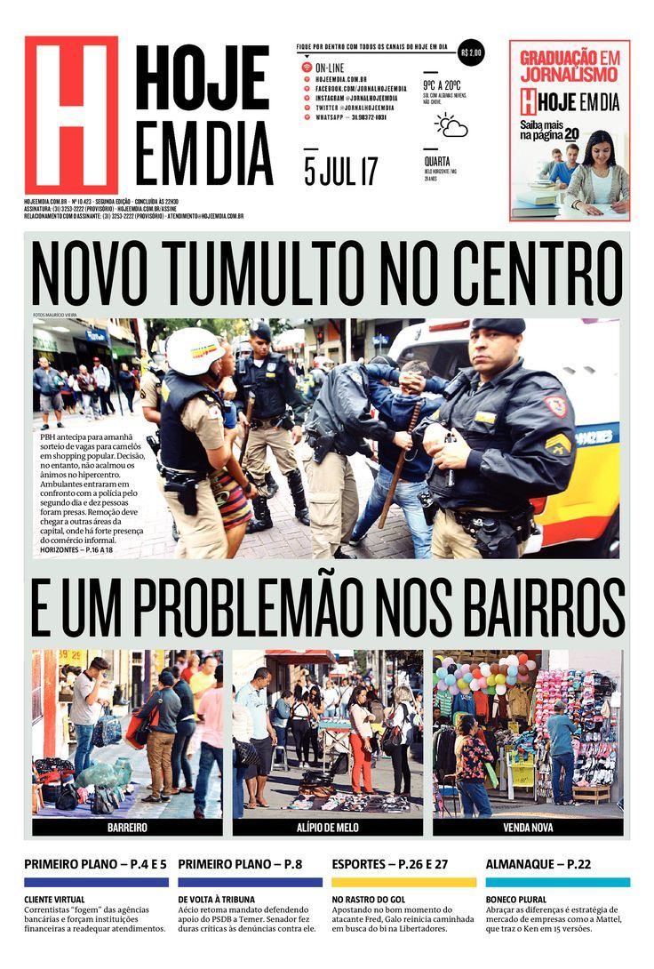 Capa do dia 05/07/2017 #HojeEmDia #Jornal #Noticias #News #Newspaper