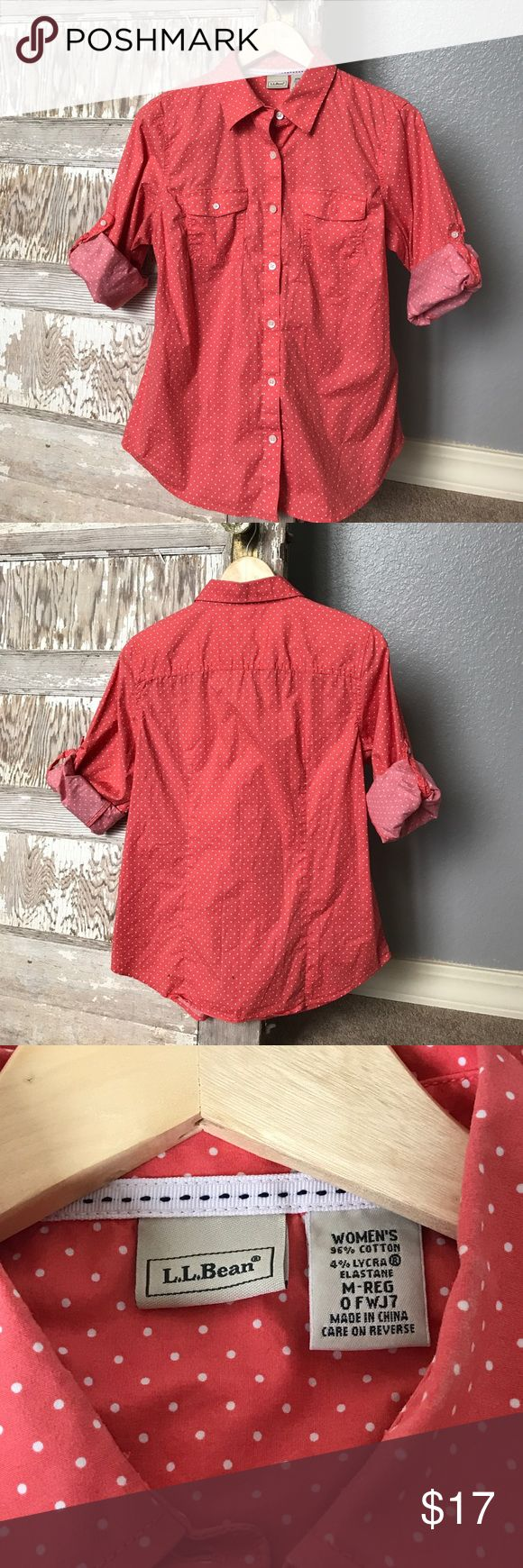 L.L. Bean Top L.L. Bean Top in excellent used condition. It's a great color for Spring! L.L. Bean Tops Button Down Shirts