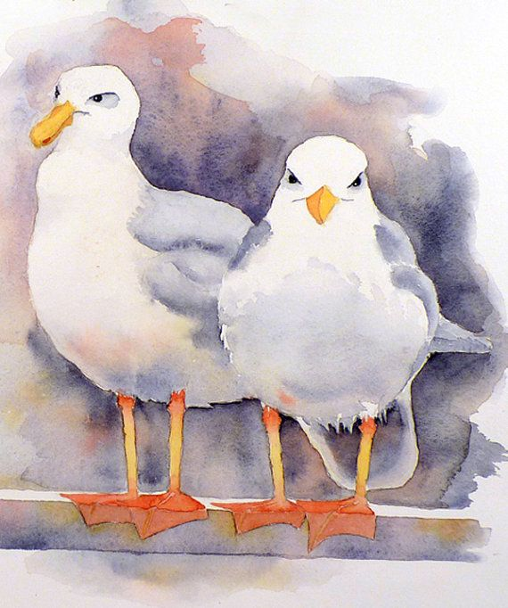 Shore Bird Watercolor Painting Print - Mothers Day - Animal Painting, Nature Art - Men Women - Home Decor Blue Grey White - 15.5 x 19.5