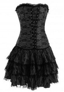 Strapless Satin Lacy Corset Bustier Dress in Black Red Purple Rose