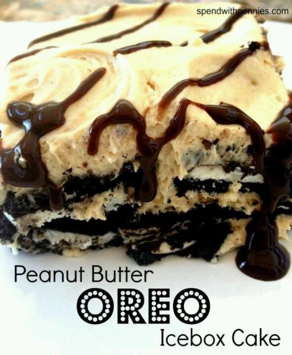 Peanut butter oreo ice box cake