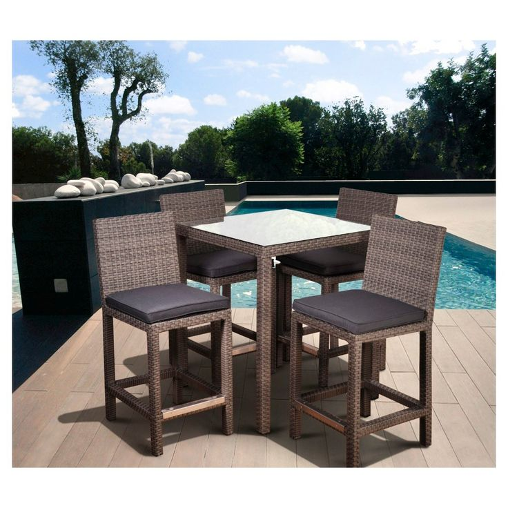 Coral Springs 5 Pc Wicker Patio Bar Height Set   Grey Part 33
