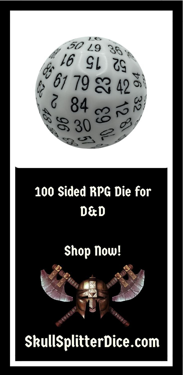 Single 100 Sided Polyhedral Dice D100 Solid White Color With Black Numbering 45mm With Images Dungeons And Dragons Gifts Rpg Gifts Dungeons And Dragons Dice