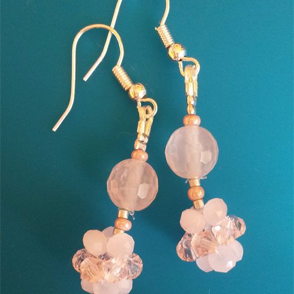 Pink quartz & Swarovski handmade earrings. CHF 38.-