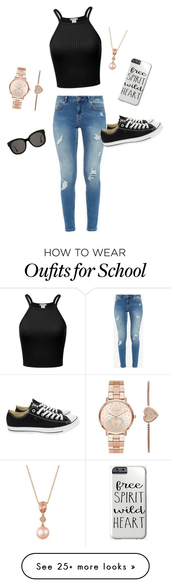 """""""Back to school"""" by cara-gross on Polyvore featuring Ted Baker, Converse, LE VIAN, Michael Kors and Gentle Monster"""