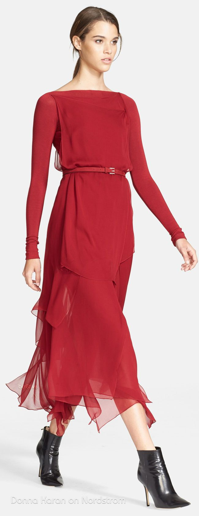 Donna Karan (FW14) Collection Layered Silk Chiffon Midi Dress