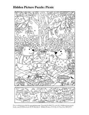 Hidden 3D Picture Puzzles | Picnic Hidden Picture Puzzle - Civics Lessons and EL Civics PDF: