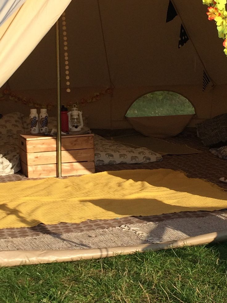 Bell tent glamping - yellow interior #marietompson