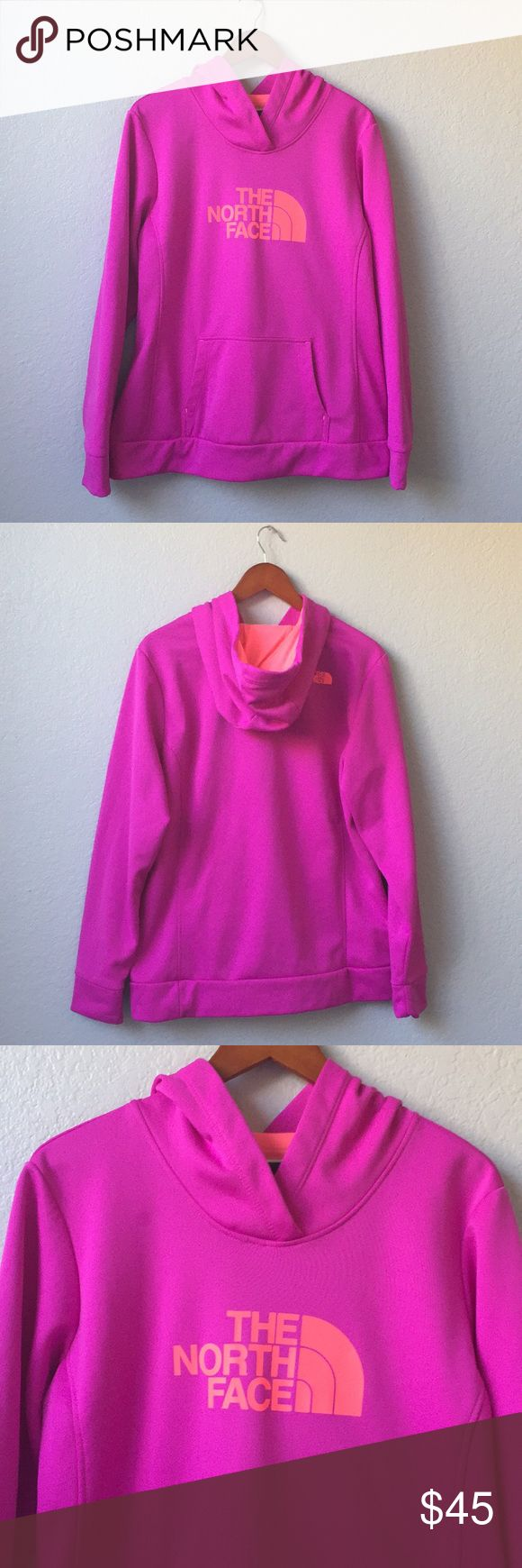 Violet Pink Women's Fave Pullover Hoodie Size XL. North Face Violet Pink/Neon Orange Women's Fave Pullover Hoodie. Preowned and in excellent condition. Looks brand new! Kangaroo hand pockets. 100% Polyester. Please view all photos. Super soft lining.  Stretch Fleece. Double layered hood. Breathable when layered over training gear. Retails for $60 North Face Tops Sweatshirts & Hoodies