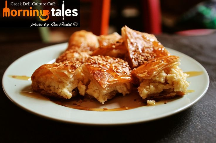 Bougatsa with cheese (feta)! Served with honey and sesame! Μπουγάτσα με τυρί (φέτα)! Σερβίρεται με μέλι και σουσάμι!